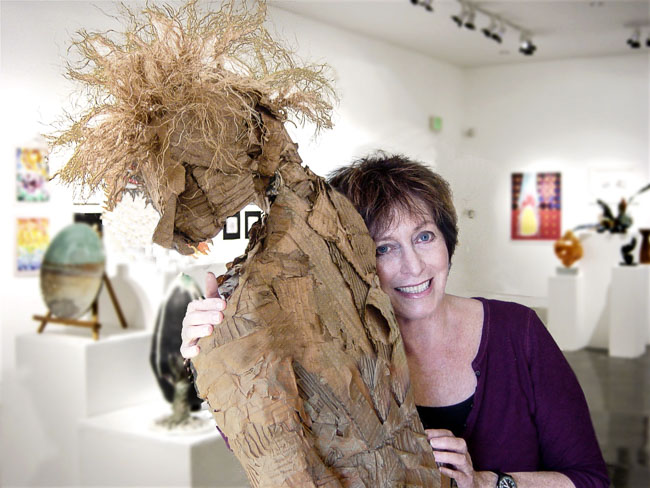 Sandra Robbins with My Guy Sculpture